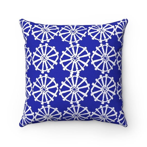 OUTDOOR Throw Pillow . Azure Blue Outdoor Pillow . Blue patio cushion . Modern Geometric Pillow . Blue Wheel . 16 18 20 inch . Lumbar Pillow