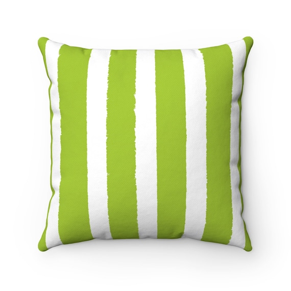 OUTDOOR Throw Pillow . Lime green Outdoor Pillow . Lime Stripe patio cushion . Modern Lime Pillow . 16 18 20 inch . Lime Green Lumbar Pillow
