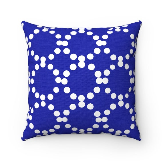 OUTDOOR Throw Pillow . Azure Blue Outdoor Pillow . Blue patio cushion . Modern Geometric Pillow Ring Dot . 16 18 20 inch . Lumbar Pillow