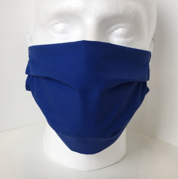 Solid Blue Face Mask - Child over 10 - Tween - Teen - Adult Face Mask - Adjustable Fabric Face Mask with Filter Pocket
