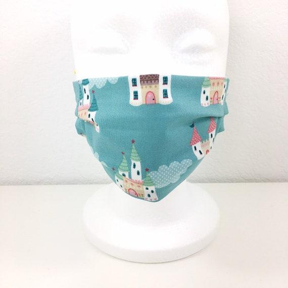 Child Blue Castle Face Mask - Adjustable Fabric Face Mask - Child Face Mask - Washable and Reusable