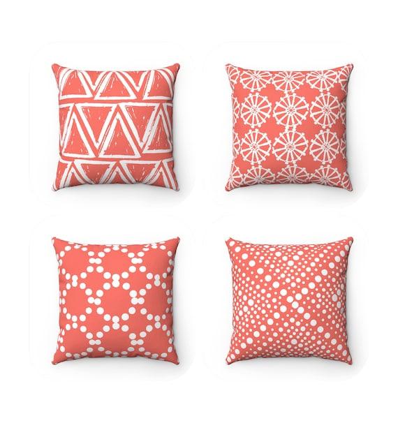 OUTDOOR Throw Pillow . Coral Outdoor Pillow . Coral pillow . Coral Patio Cushion . Coral Throw Pillow 16 18 20 inch . Coral Lumbar Pillow