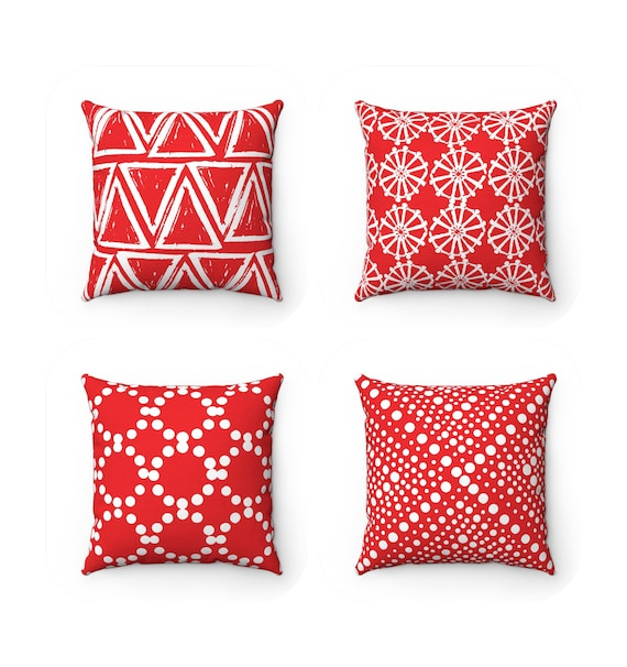 Red Throw Pillow . Red Cushion . Red Geometric Throw Pillow