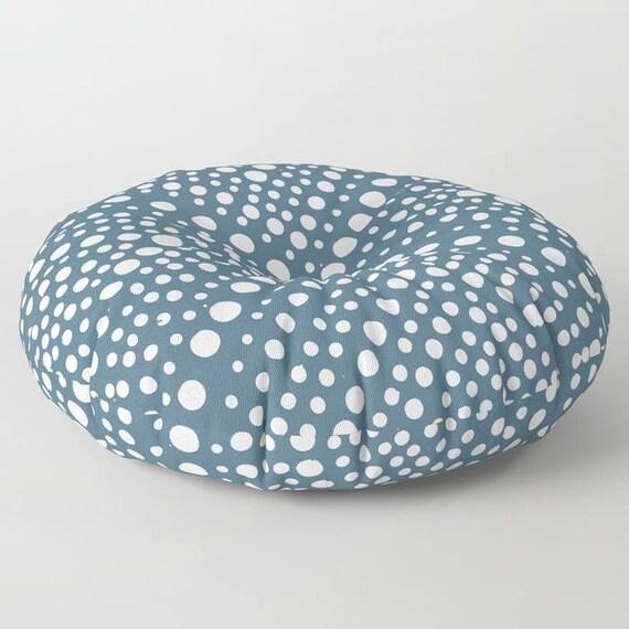 Teal floor cushion . Round cushion . Blue Pillow . Round pillow . Floor pillow . Geometric pillow . 26 inch pillow . 30 inch ottoman