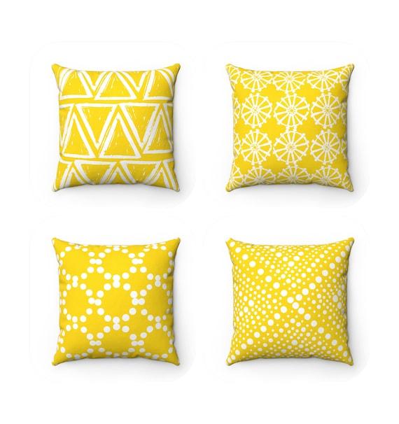 Yellow Throw Pillow . Modern Throw Pillow . Geometric Pillow . Yellow Cushion . Triangle White Ring Dot . Lumbar Pillow 14 16 18 20 26 inch