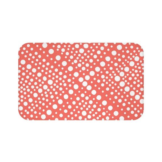 Coral Bath Mat . Coral and White Bath Mat  . X dot Bathroom Rug . Coral Shower Mat