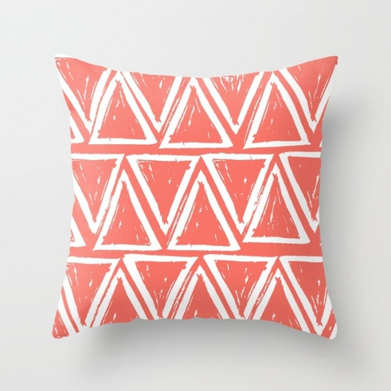 OUTDOOR Throw Pillow . Coral Outdoor Pillow . Coral patio cushion . Modern Geometric Pillow Triangle . 16 18 20 inch . Salmon Rectangle