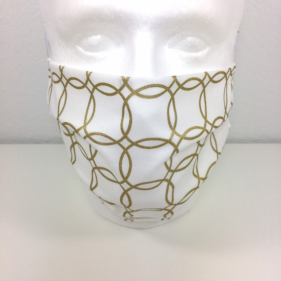 Gold and White Extra Large Face Mask - XL Adult Adjustable Fabric Face Mask with Pocket for Filter