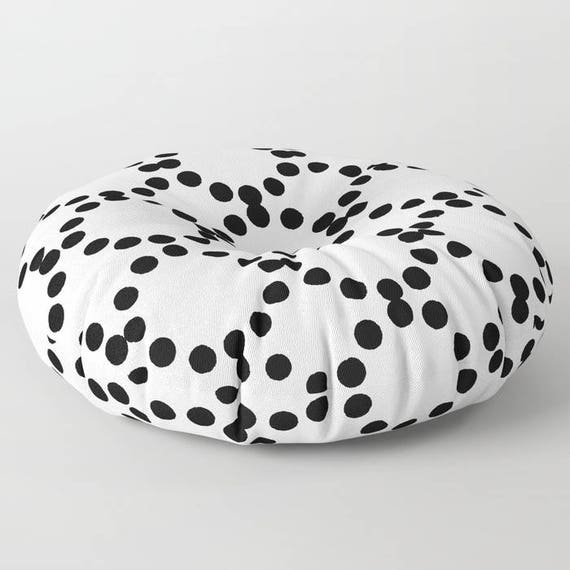 Black and white floor cushion . Round cushion . White Pillow . Round pillow . Geometric Floor pillow . 26 inch pillow . 30 inch pillow