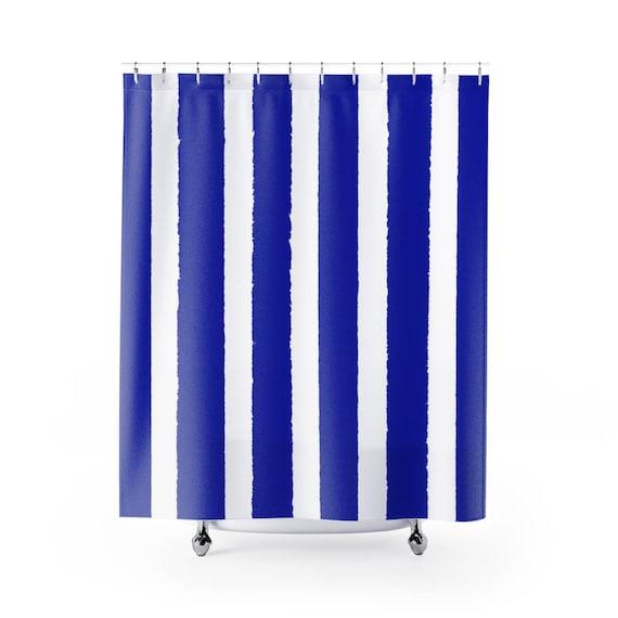 Azure Blue Shower Curtain . Blue Striped Shower Curtain