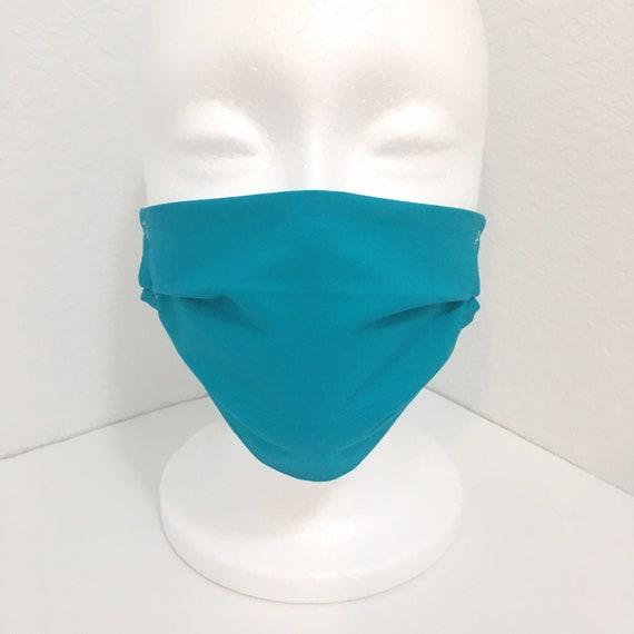 Solid Teal Child Face Mask - Adjustable Fabric Mask