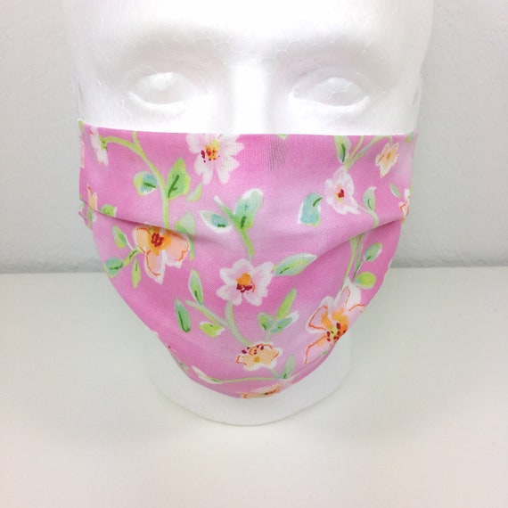 Pink Floral Face Mask - Adult Face Mask - Adjustable Fabric Face Mask with Pocket for Filter