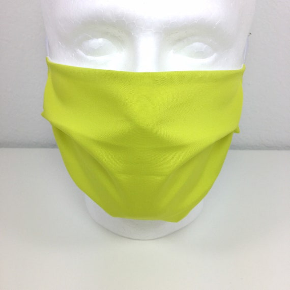 Solid Light Green Extra Large Face Mask - XL Adult Adjustable Fabric Face Mask with Pocket for Filter - Lemonade