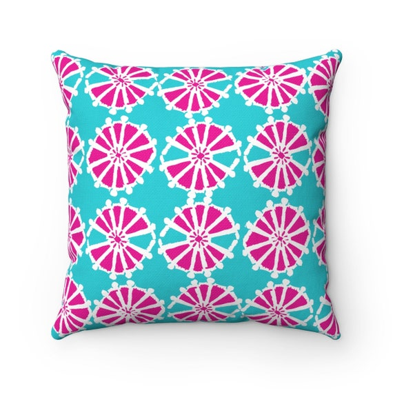 Magenta Turquoise Throw Pillow . Modern Throw Pillow . Geometric Pillow . Pink Cushion . Triangle Pillow . Lumbar Pillow . 14 16 18 20 inch