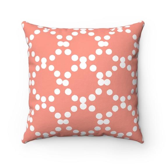 OUTDOOR Throw Pillow . Peach Outdoor Pillow . Peach patio cushion . Modern Geometric Pillow Ring Dot . 16 18 20 inch . Outside Pillow Lumbar