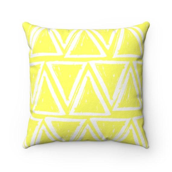 OUTDOOR Throw Pillow . Lemon Yellow Outdoor Pillow . Yellow patio cushion . Modern Geometric Pillow Triangle . 16 18 20 inch . Lumbar Pillow