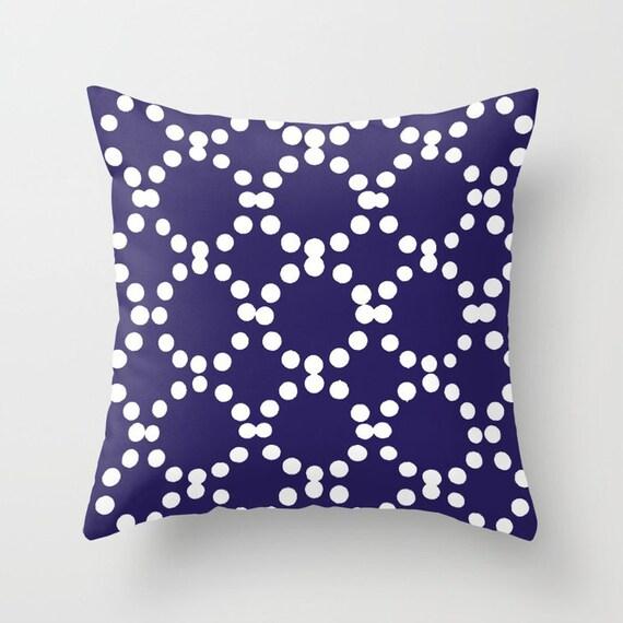 OUTDOOR Throw Pillow . Indigo Blue Outdoor Pillow . Indigo patio cushion . Modern Geometric Pillow Ring Dot . 16 18 20 inch . Lumbar Pillow