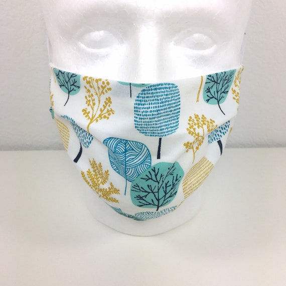 Turquoise Trees Child over 10 / Tween / Teen / Adult Face Mask - Adjustable Fabric Face Mask with Pocket for Filter