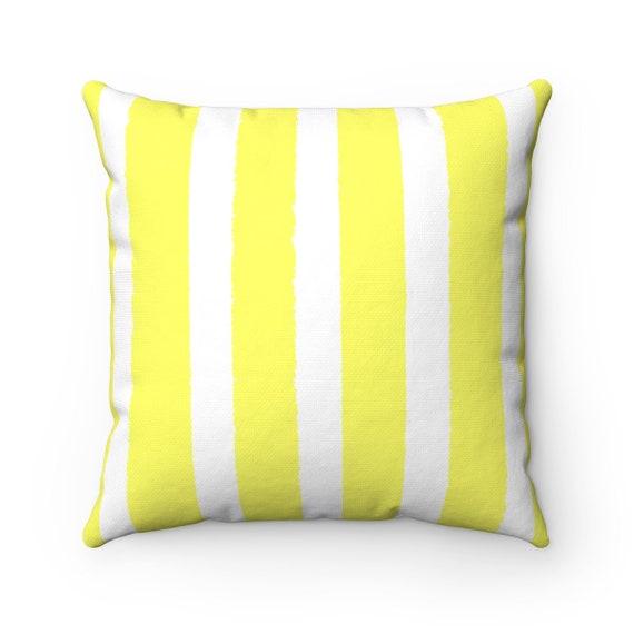 OUTDOOR Throw Pillow . Lemon Yellow Outdoor Pillow . Stripe Patio Cushion