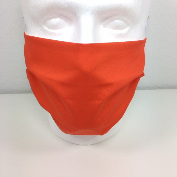 Red Orange Extra Large Face Mask - XL Adult Adjustable Fabric Face Mask with Pocket for Filter - Tigerlily