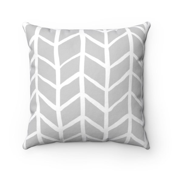OUTDOOR Throw Pillow . Silver Gray Outdoor Pillow . Gray Herringbone Patio Cushion