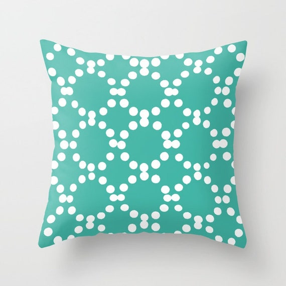 OUTDOOR Throw Pillow . Turquoise Outdoor Pillow . Turquoise patio cushion . Modern Geometric Pillow Ring Dot . 16 18 20 inch . Lumbar Pillow