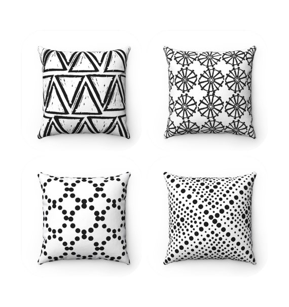 OUTDOOR Throw Pillow . Black and White Outdoor Pillow . Black and White Patio Cushion . Throw Pillow 16 18 20 inch . Black Lumbar Pillow