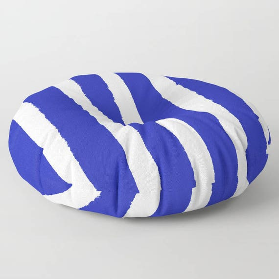 Azure Blue and White Striped floor cushion . Round cushion . Blue floor pillow . Round pillow . Cobalt Floor pillow . 26 - 30 inch pillow