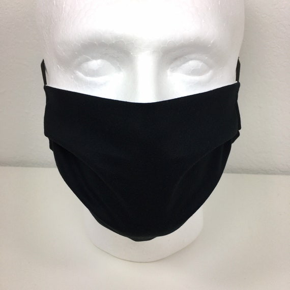Solid Black Face Mask - Adult / Tween / Teen Adjustable Fabric Face Mask with Pocket for Filter