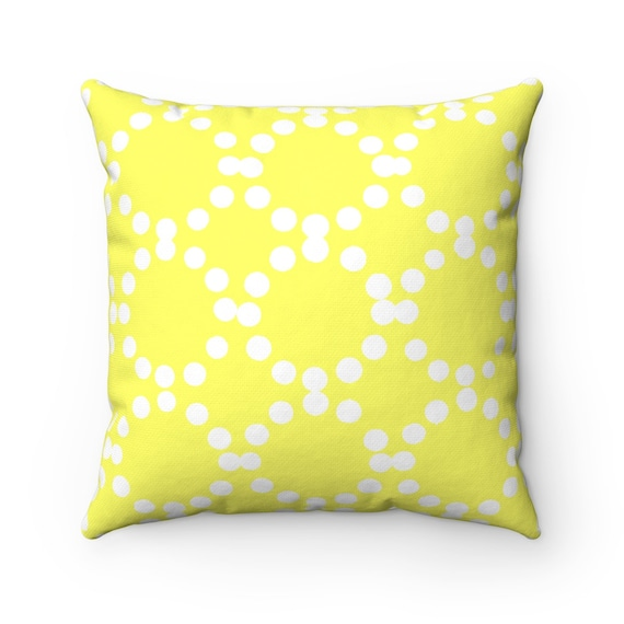 OUTDOOR Throw Pillow . Lemon Yellow Outdoor Pillow . Yellow patio cushion . Modern Geometric Pillow Ring Dot . 16 18 20 inch . Lumbar Pillow