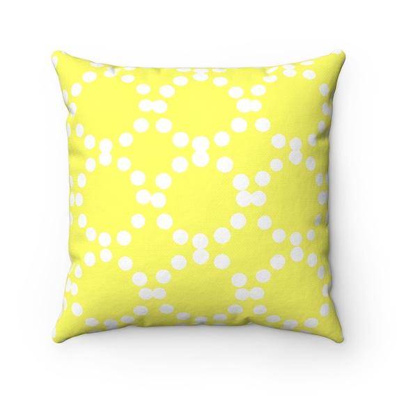 OUTDOOR Throw Pillow . Lemon Yellow Outdoor Pillow . Yellow Patio Cushion . Ring Dot