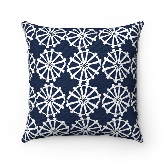 OUTDOOR Throw Pillow . Navy blue Outdoor Pillow . Navy patio cushion . Modern Geometric Pillow Wheel . 16 18 20 inch . Navy Lumbar Pillow