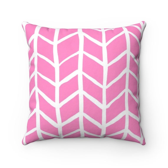 OUTDOOR Throw Pillow . Pink and White Outdoor Pillow . Pink Herringbone Patio Cushion