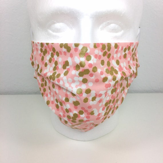 Extra Large Blush Pink Metallic Gold Face Mask - XL Adult Adjustable Fabric Face Mask with Pocket for Filter