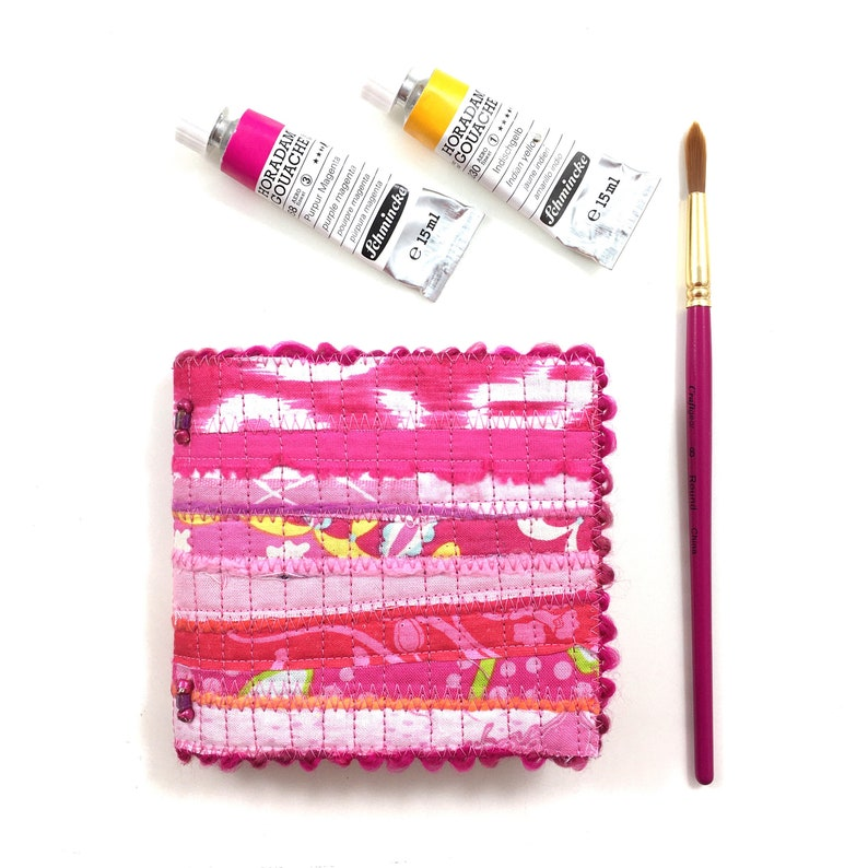 Pink Mini Watercolor Journal . Small Travel Journal . Quilted image 0