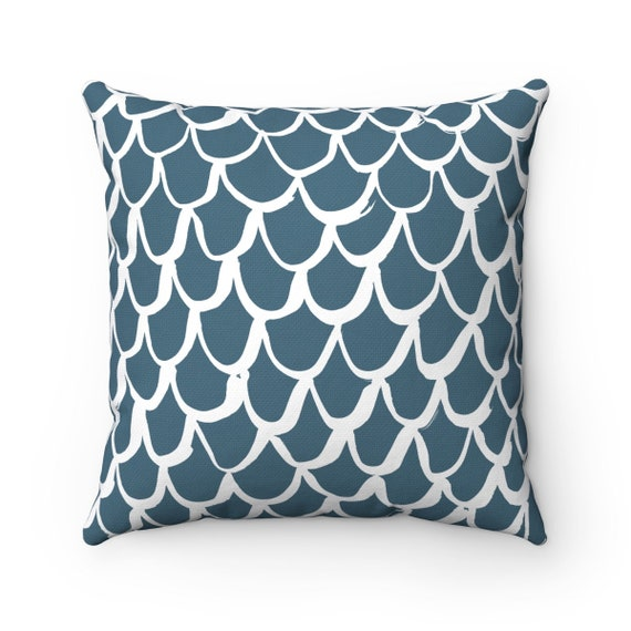 Teal Mermaid Throw Pillow . Teal and White Pillow . Teal Cushion . Teal Mermaid Pillow . Teal Pillow . Mermaid Cushion 14 16 18 20 26 inch
