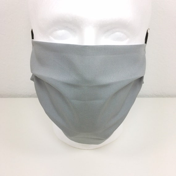 Extra Large Mask Solid Light Gray Face Mask - XL Adult Adjustable Face Mask with Pocket for Filter