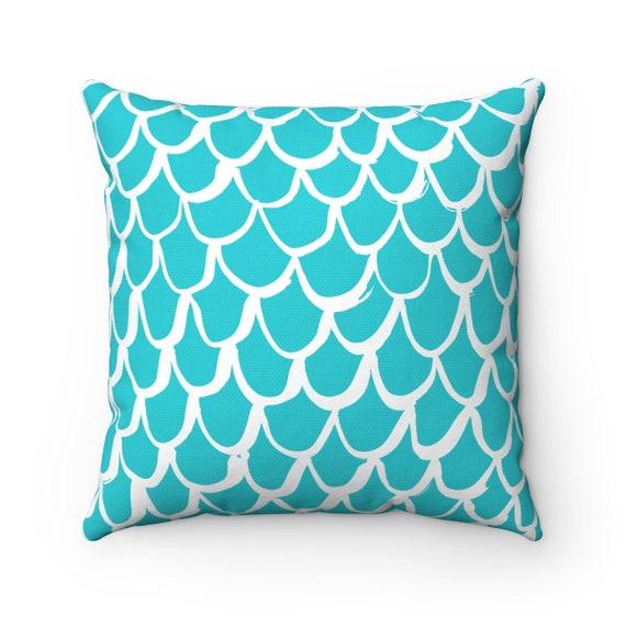 OUTDOOR Throw Pillow . Aqua Mermaid Outdoor Pillow . Aquamarine patio cushion . 16 18 20 inch . Mermaid Outside Pillow . Mermaid Bolster
