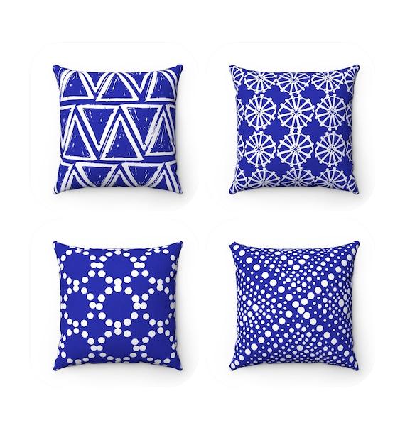 OUTDOOR Throw Pillow . Azure blue Outdoor Pillow . Blue pillow . Blue Patio Cushion . Blue Throw Pillow 16 18 20 inch . Cobalt Lumbar Pillow