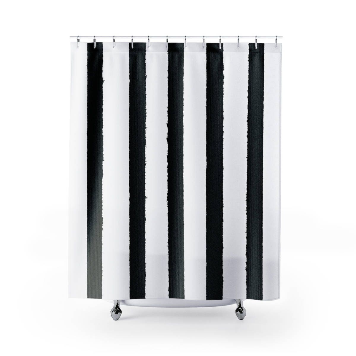 White And Black Shower Curtain Black And White Striped Shower Curtain