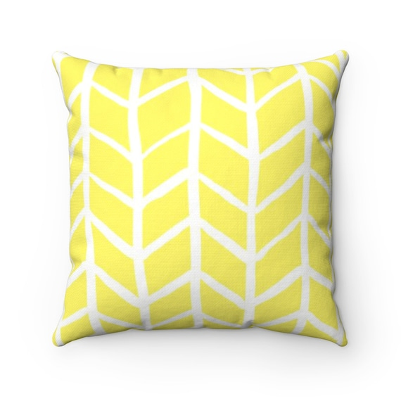 OUTDOOR Throw Pillow . Lemon Yellow Outdoor Pillow . Herringbone Patio Cushion