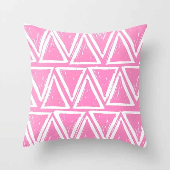 OUTDOOR Throw Pillow . Bubblegum Pink Outdoor Pillow . Pink patio cushion . Modern Geometric Pillow Triangle . 16 18 20 inch . Lumbar Pillow