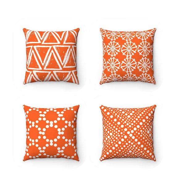 Orange Throw Pillow . Modern Throw Pillow . Geometric Throw Pillow . Orange Cushion . White Triangle . Lumar Pillow 14 16 18 20 26 inch
