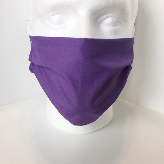 Adult Solid Purple Face Mask - Adjustable Fabric Face Mask with Pocket for Filter