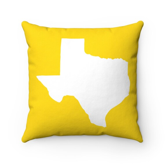 OUTDOOR Throw Pillow . Yellow Texas Outdoor Pillow . Yellow Texas State patio cushion . 16 18 20 inch . Texas Lumbar Pillow . Texan Pride