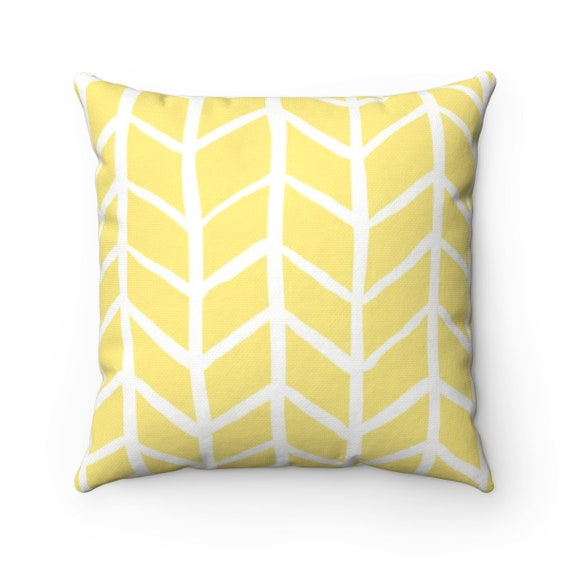OUTDOOR Throw Pillow . Butter Yellow Outdoor Pillow . Yellow Herringbone Patio Cushion