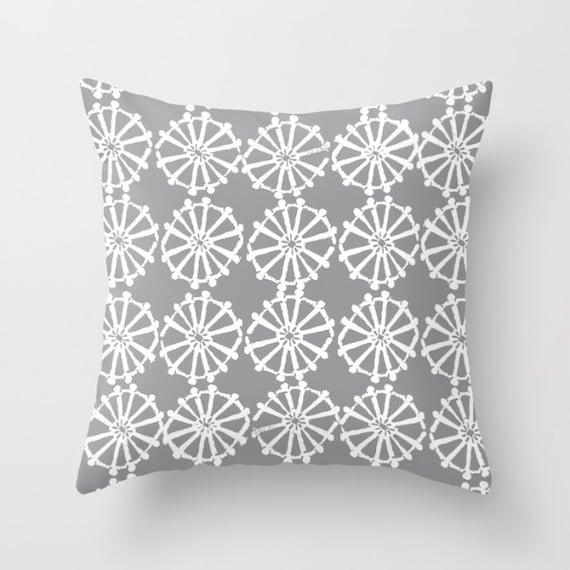 OUTDOOR Throw Pillow . Grey Outdoor Pillow . Gray patio cushion . Modern Geometric . Gray Pillow Wheel . 16 18 20 inch . Lumbar Pillow