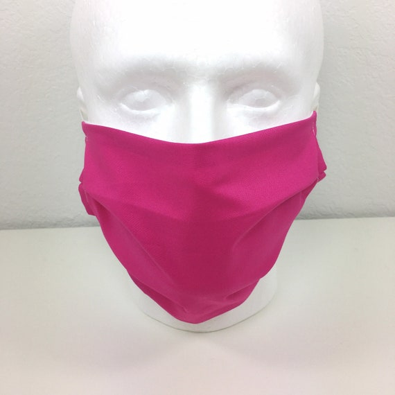 Extra Large Solid Pink Face Mask - XL Adult Adjustable Fabric Face Mask with Pocket for Filter
