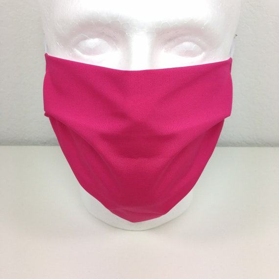 Solid Hot Pink Extra Large Face Mask - XL Adult Adjustable Fabric Face Mask with Pocket for Filter - Raspberry Rose