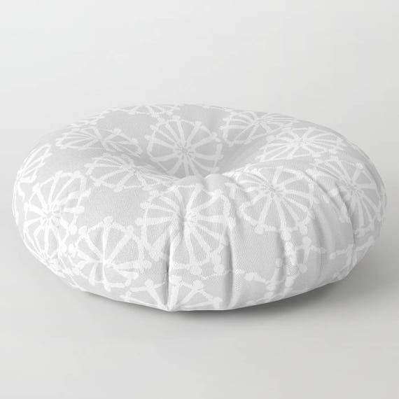 Silver Grey floor cushion . Round cushion . Grey Pillow . Round pillow . Floor pillow . Geometric pillow . 26 inch pillow . 30 inch pillow